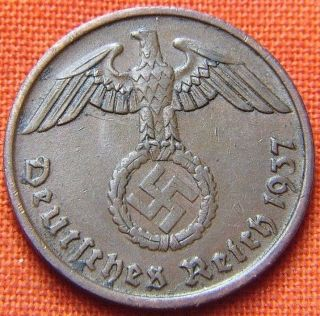 Ww2 German 1937 - A 2 Rp Reichspfennig 3rd Reich Bronze Nazi Coin (rl 1341) photo