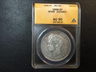 1898 Spain 5 Silver Pesetas Coin Anacs Certified photo