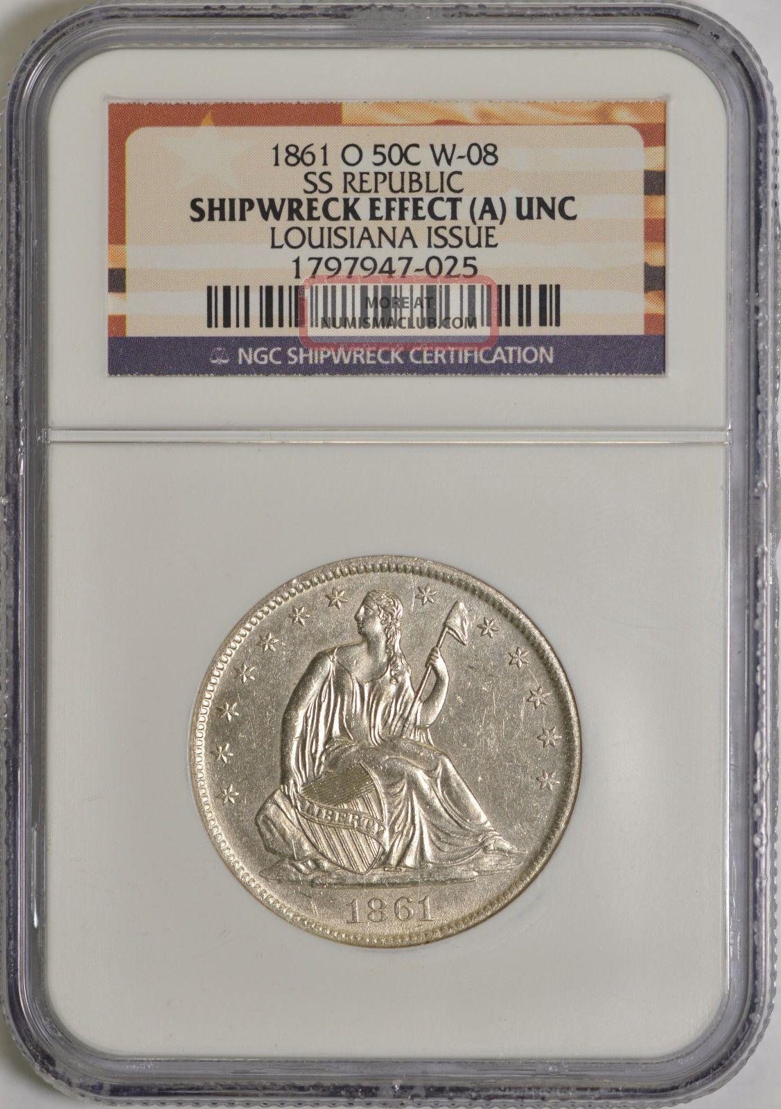 1861 - O 50c Louisiana Issue Ss Republic (a) Unc Ngc Half Dollars photo