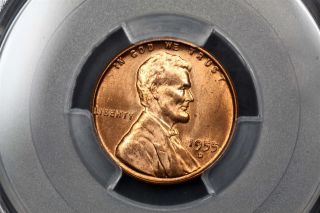 1955 - D Lincoln Wheat Cent Copper 1c Ms65 Rd Red Pcgs 82189192 photo