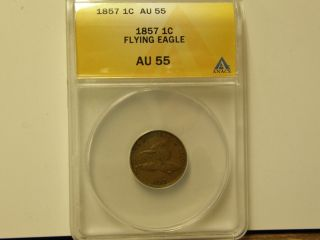 Anacs Au55 1857 Flying Eagle Cent - A Coin photo