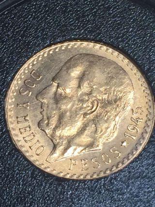 Random Date Mexico 2 - 1/2 (2.  5) Pesos Gold Coin -.  0603 Troy Oz Agw In Case photo