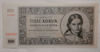 1945 Czechoslovakia 1000 Korun Bank Note Choice Bu 2 photo