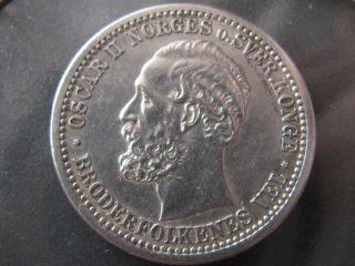 Rare Oscar Ii Norges O.  Sver.  Konge 50 Ore 1880 photo