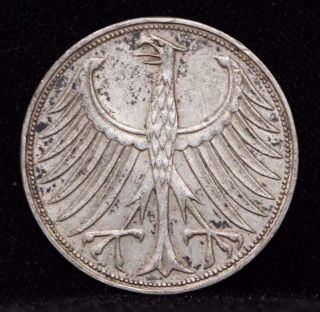 1951 F,  Germany,  Federal Republic Five 5 Deutsche Mark Silver Coin 1c9 photo