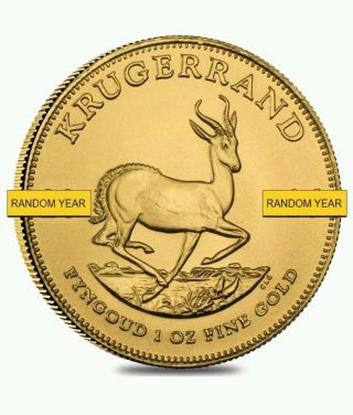 South African Gold Krugerrand,  1 Oz Fine Gold Coin, photo