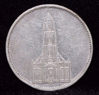 1934 D,  Germany,  Third Reich,  5 Reichsmark,  German Silver Coin 1c15 photo