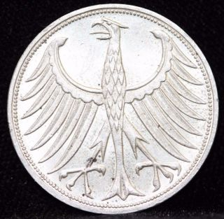 1967 G,  Germany,  Federal Republic Five 5 Deutsche Mark Silver Coin 1c12 photo