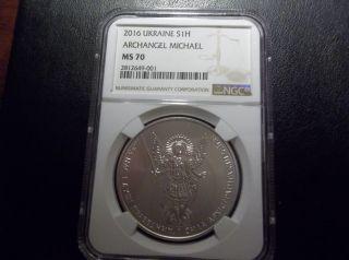 2016 Ukraine Archangel Michael 1 Oz Silver Coin Ngc Ms 70 Scratch Resistant Slab photo