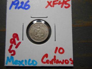 1926 10 Centavos Mexico /.  720 Silver -.  0384 Asw photo