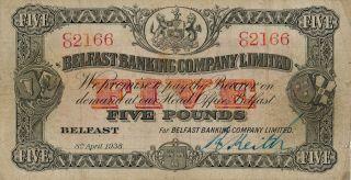Belfast Banking Co.  Ltd.  Belfast 5 Pounds 1938 Good Vf photo