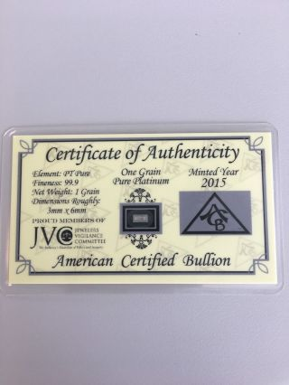 Acb Platinum Solid Bullion Minted 1grain Pt Bar 99.  9 Pure photo