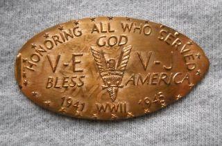 Honoring Wwii Veterans Elongated Penny Usa Cent 1941 1945 Souvenir Coin V - E V - J photo