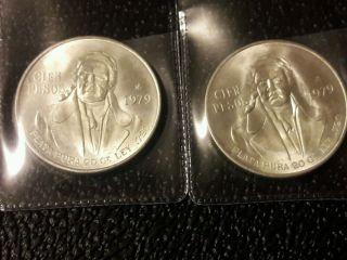 1979 Mexico 100 Pesos Cien 72 Silver Bu Coin 784,  000 Minted photo