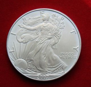 2007 Silver Dollar Coin 1 Troy Oz American Eagle Walking Liberty.  999 Fine photo