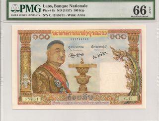 P - 6a 1957 100 Kip,  Laos,  Banque Nationale Pmg 66epq photo