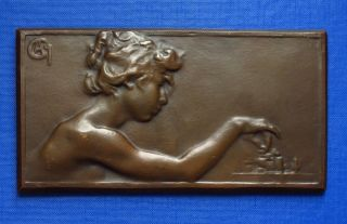 1930 Chess Medal/plaque Young Girl / Woman With Chess 147x79mm Sign.  Ca4 ? photo