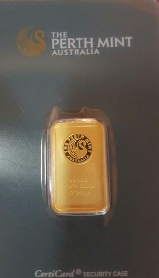 10 Gram Gold Bar - Perth - 99.  99 Fine In Assay photo