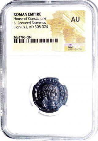 Roman Emperor Licinius I Bi Nummus Coin,  House Of Constanine,  Ngc Cert Au photo