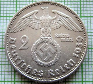 Germany Third Reich 1939 D 2 Reichsmark Hindenburg Swastika Silver photo
