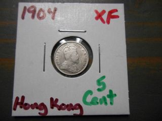 1904 5 Cents Hong Kong -.  800 Silver -.  0349 Asw photo