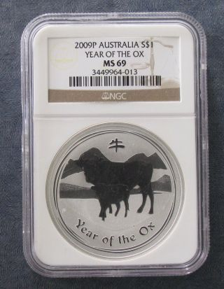 2009 Ngc Ms69 Australia 1 Oz Year Of Ox Silver Coin $1 - photo