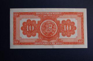 Peru 10 Soles De Oro 1953 Banknote Crisp Exc. photo