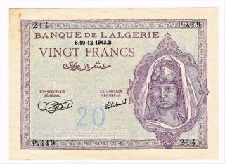Banque De L ' Algerie 20 Francs Wwii Banknote Dated: B.  10 - 12 - 1943.  B - photo