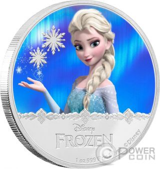 Elsa Disney Frozen Magic Of The Northern Lights 1 Oz Silver Coin 2$ Niue 2016 photo