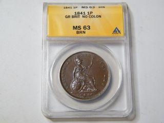 1841 Great Britain Penny Ms63 No Colon photo
