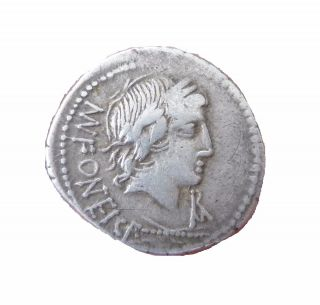 Republic,  Mn.  Fonteius C.  F.  85 Bc.  Vejovis / Genius Riding Goat Ar Denarius photo