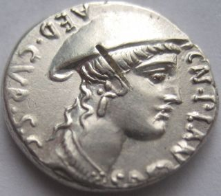 Rome Cn.  Plancius 55 B.  C.  Silver Denarius Very Rare And photo