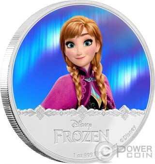 Anna Disney Frozen Magic Of The Northern Lights 1 Oz Silver Coin 2$ Niue 2016 photo