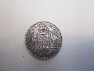 1942 One Florin Australia Silver Coin Circulated 1 photo