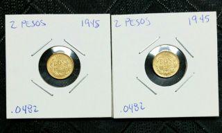 1945 Mexico Gold Dos Pesos Mexican Gold 2 Peso Coin photo