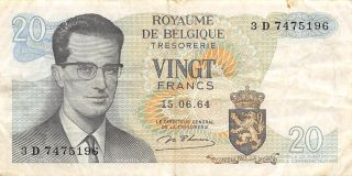 Belgium 20 Francs 15.  06.  1964 Series 3 D Circulated Banknote Em30ep photo