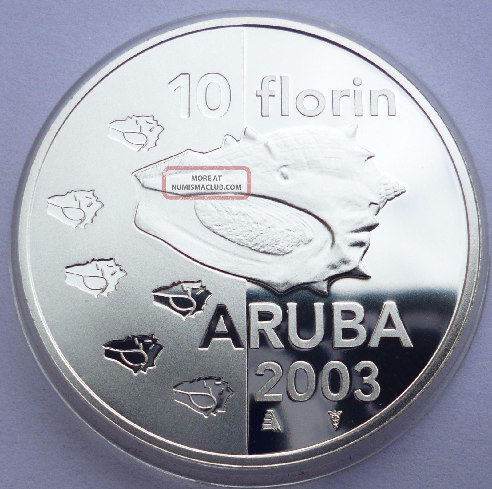 Aruba 10 Florin 2003 Silver Coin Proof Sea Shell Very Low Mintage Rare