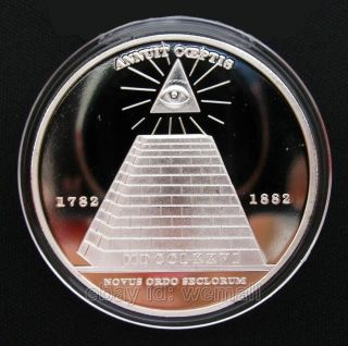 Masonic,  Freemason Symbol,  All - Seeing Eyes,  Pyramid,  Silver Souvenir Coin Token photo