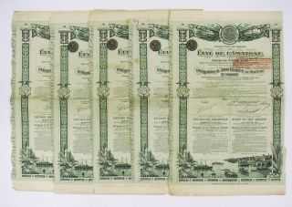 Brazil - Etat De L ' Amazone Emprunt 5 Or 1906 Ob.  500f (x5) photo
