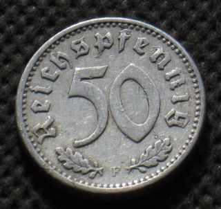 Rare Old Coin Of Nazi Germany 50 Reichspfennig 1935 F Stuttgart (third Reich) photo
