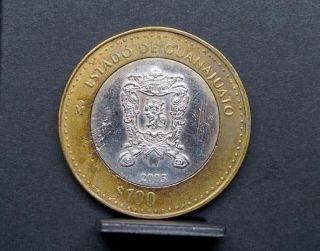 Mexico 2005 Bimetallic Coin 100 Pesos Estado De Guanajuato 081 photo