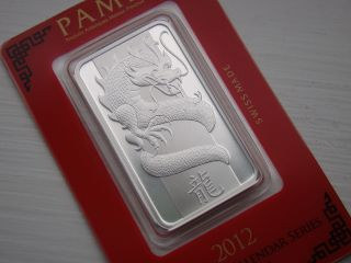 Solid Silver Bar 1 Troy Oz 2012 Year Of Dragon Pamp Suisse Assay Card Bu photo