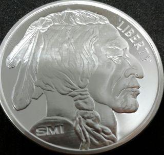 1 Ounce Silver Buffalo Indian Head Bu.  999 Silver Bullion Round Mintmark Si photo
