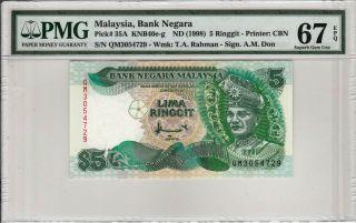Malaysia 5 Ringgit (1998) P35a Qm3054729 Banknote Pmg 67 Epq photo