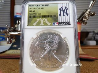 2015 Silver American Eagle Dollar $1 York Yankees Mlb Label Ngc Ms69 photo