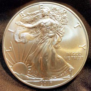 2017 Silver American Eagle 1 Oz Coin.  999 Fine Silver Dollar Uncirculated photo
