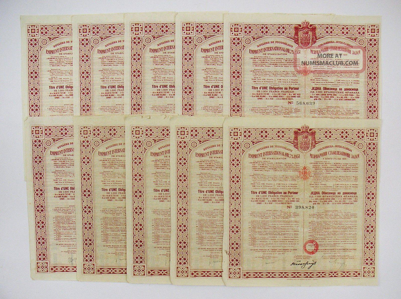 Emprunt International Or 7 1000f 1931 – Royaume De Yougoslavie (x10) Stocks & Bonds, Scripophily photo