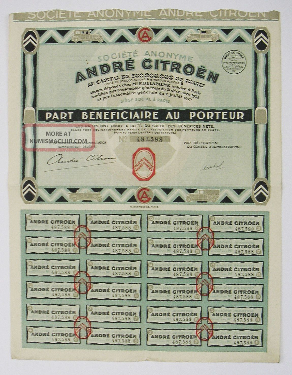 France - André Citroen - Part Bénéficiaire 1927 Transportation photo