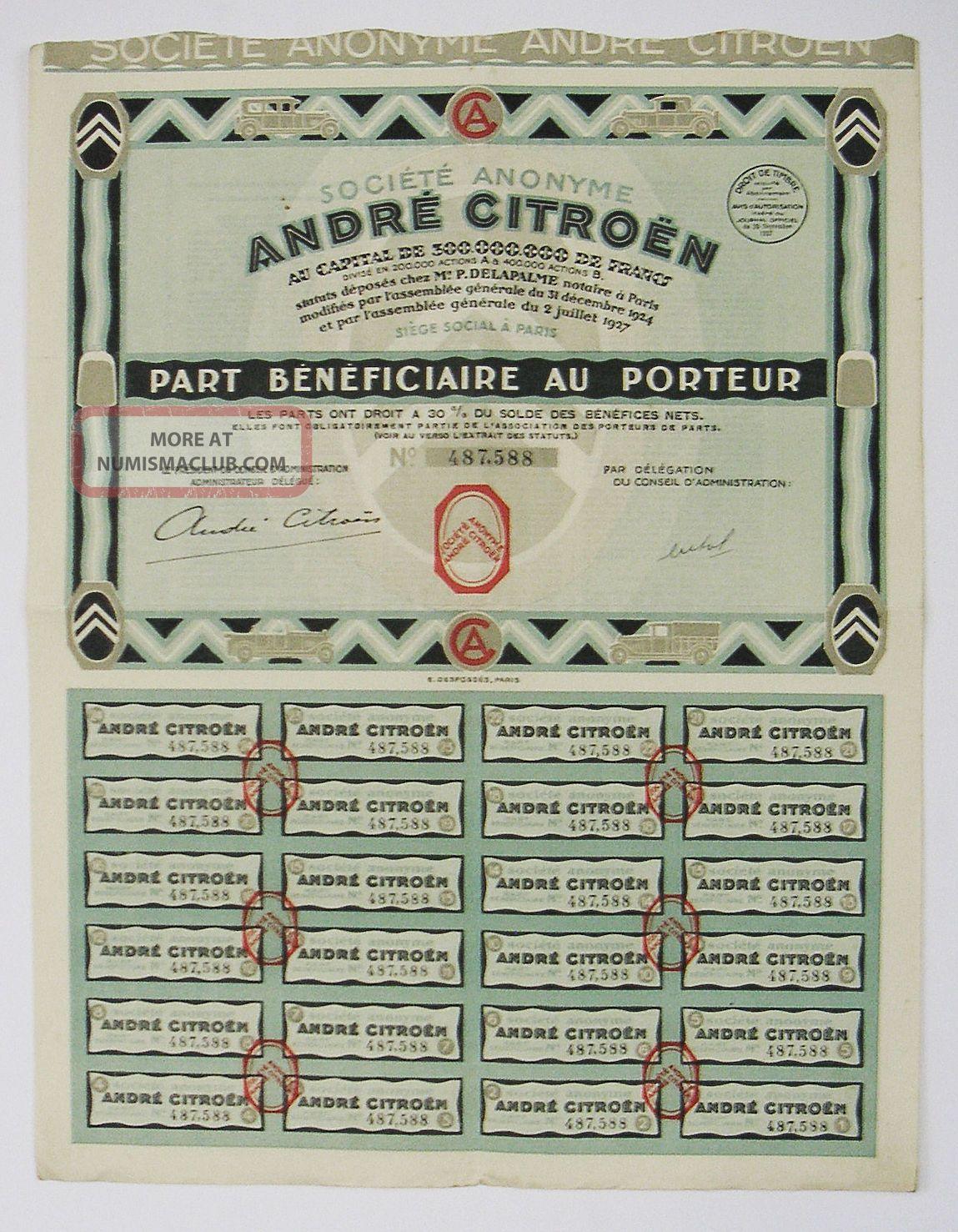 France - André Citroen - Part Bénéficiaire 1927 Transportation photo