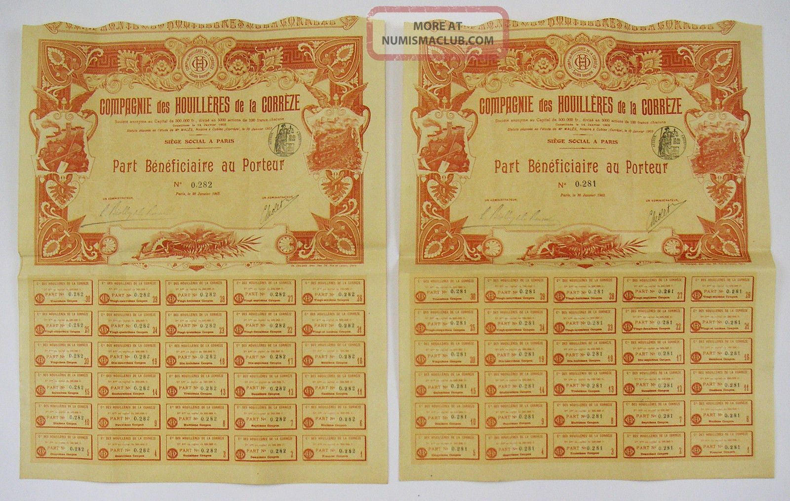 France - Compagnie Des Houilleres De Correze - Part Bénéficiaire (x2) Stocks & Bonds, Scripophily photo